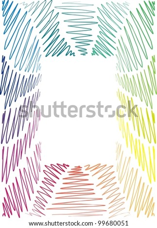 frame is hand-painted, graphic, children, rainbow,  wave, hand-drawn - stock vector
