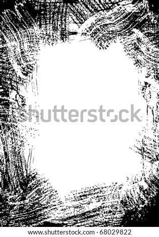 Frame made by several black brush strokes - stock vector