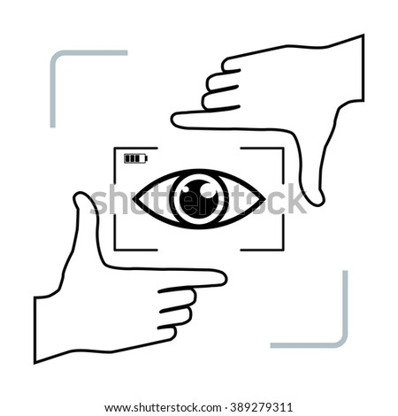 Frame made from fingers and eye inside. Photographer is looking at you making framing hands. Vector perspective view illustration. - stock vector