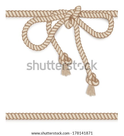 Frame made from rope isolated on white. Vector illustration - stock vector