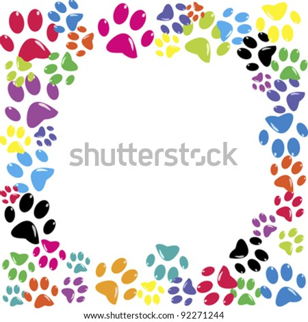 Frame made of animal paws - stock vector