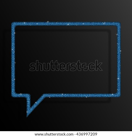 Frame made of blue sequins in the form speech bubble. Sparkle glitter background. Glittering sequins frame. - stock vector
