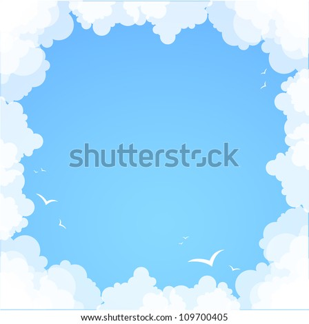 Frame made ??of clouds. Abstract Background. Summer theme - stock vector