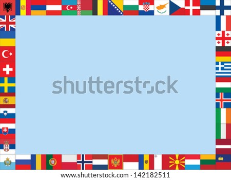 frame made of European flags icons - stock vector