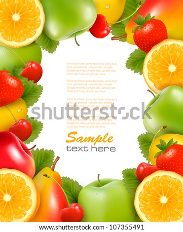 Frame made of fresh, juicy fruit. Vector. - stock vector