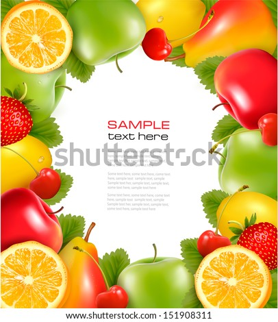 Frame made of fresh juicy fruit. Vector.  - stock vector