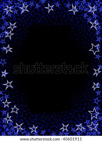 Frame made of layers of different sized vector stars