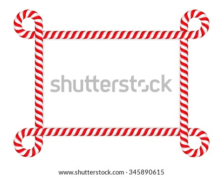 Frame made of red&white striped candy cane, vector eps10 illustration - stock vector