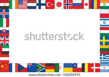 frame made of world flag icons vector illustration - stock vector