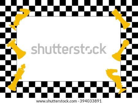 Frame of Chess board game and chess pieces,Funny frame for children   - stock vector