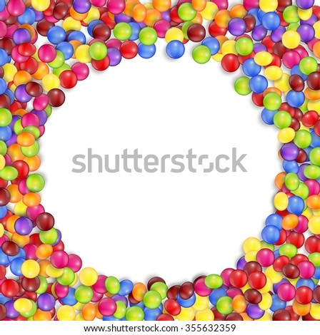 Frame of circle colored candies.vector - stock vector