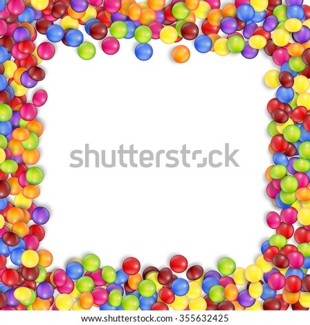 Frame of colorful candy on a white background.vector - stock vector