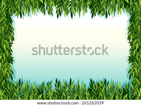 Frame of green leaves decoration - stock vector