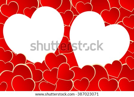 Frame of hearts - stock vector