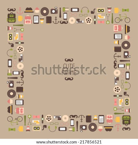 Frame of  hipster vector colorful style elements and icons set for retro design. Infographic concept background.  - stock vector
