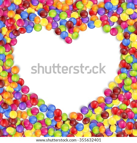Frame of love colored candies.vector - stock vector
