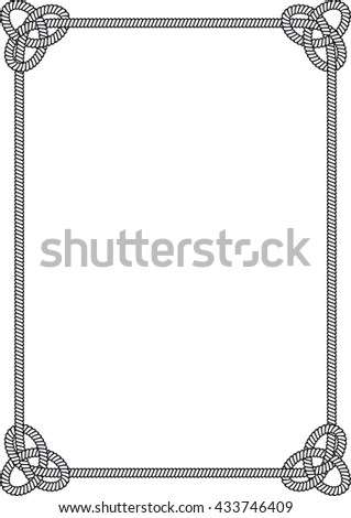 frame of rectangular sea rope with sea knots on the side