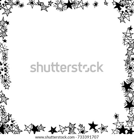 Frame Of Stars Black And White Starry Background Doodle Pattern For Card Banner
