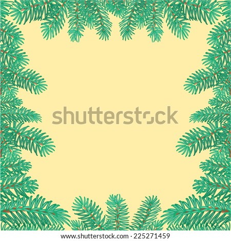 Frame of the branches of spruce textured Christmas tree vector illustration