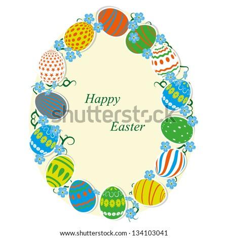 Frame of the Easter egg paper . Vector illustration. - stock vector
