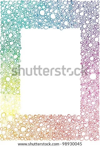 frame of the little colored bubbles, circles,  hand-drawn - stock vector