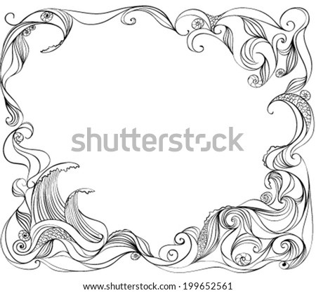 frame of the waves  - stock vector
