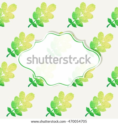 Frame on a background with seamless pattern of leaves. Vector illustration.