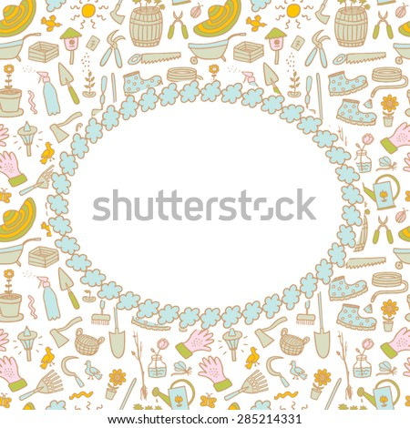 Frame on the garden hand drawn cartoon color background - stock vector