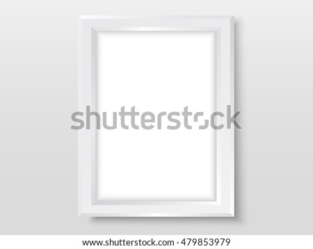 Frame on the wall. Photoframe mock up. Simple empty white frame for your design. Vector template for horizontal picture, painting, drawing, poster or photo.
