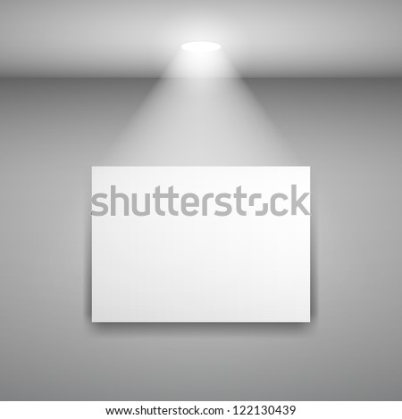 Frame on the wall with light. Illustration on gray background - stock vector