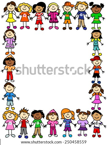 Frame or page border of cute kid cartoon characters holding hands - stock vector