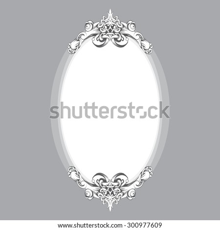 frame oval vintage baroque flowers - stock vector