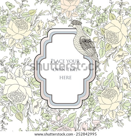 Frame over flower background. Vingette border with bird. Decorative card with floral pattern.