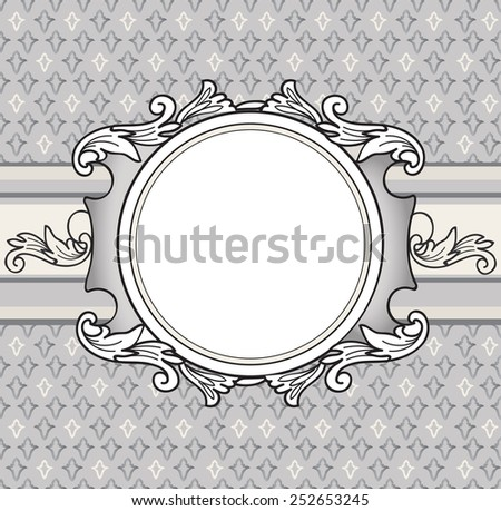 Frame over french lily background. vignette border. Decorative card. Geometric abstract seamless pattern. - stock vector