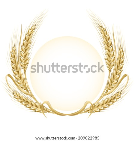 Frame. Round vector EPS 10 background. Wheat ears wreath.  - stock vector