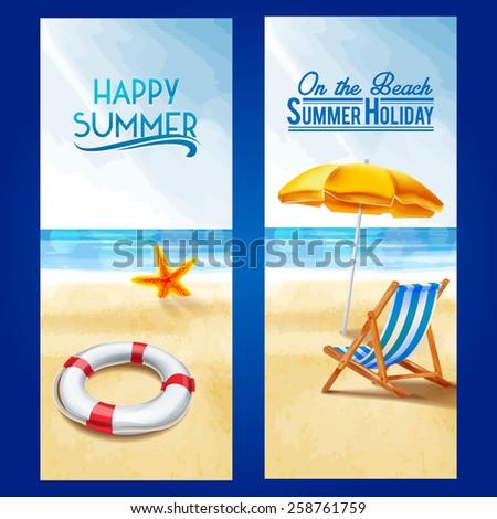 frame seaside summer - stock vector