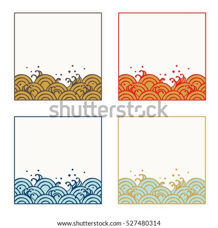 Frame Set Traditional Japanese Wave Pattern Stock Photo (Photo ...