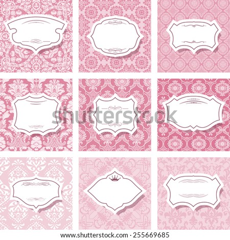 Frame set on seamless patterns in pastel pink. - stock vector