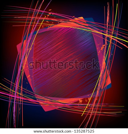 Frame. Sketchy glowing background with copy space. Simple gradient mesh used. - stock vector