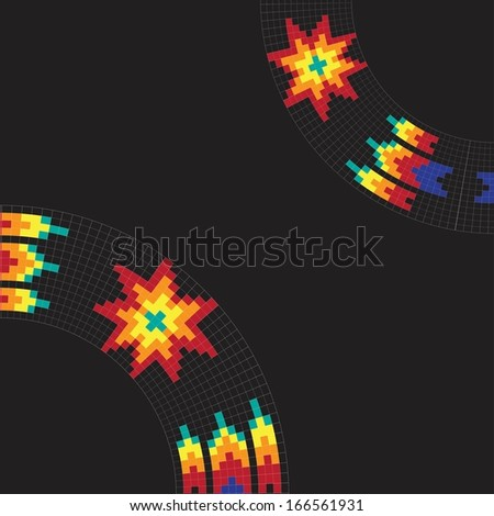 Frame template for cards, invitations, banners. Invitation card with native american (indian) round pattern, vector. - stock vector