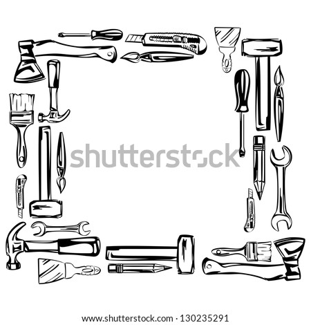 frame tools vector set vector illustration realistic sketch