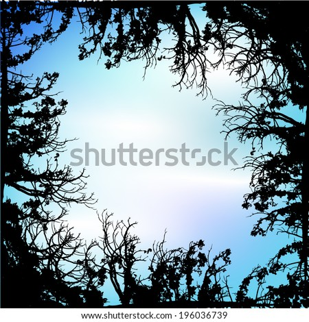 Frame tree branches against the sky. Vector