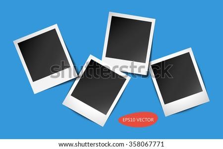 Frame vector. Frame vintage. Frame photo. Polaroid photo. Polaroid Isolated. Photo frame. Retro photo. Frame set. Four Retro Photo Frames With Shadows - Isolated Vector Illustration.  - stock vector