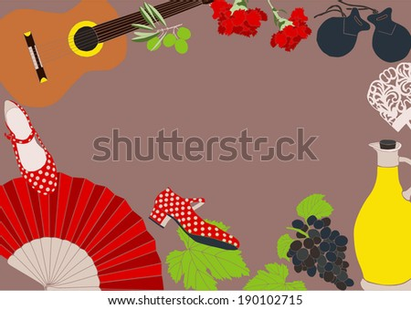 Composition Spanish Objects Stock Vector 190290659 - Shutterstock