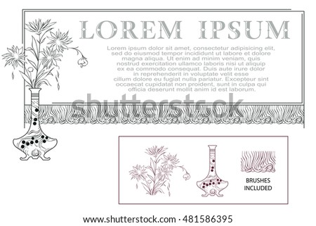 Frame with a vase of flowers. Vector template.