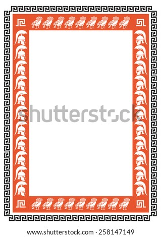 Frame with ancient Greek warriors and owls - stock vector