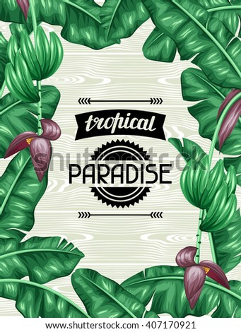 Frame with banana leaves. Decorative image of tropical foliage, flowers and fruits. Design for advertising booklets, banners, flayers, cards. - stock vector