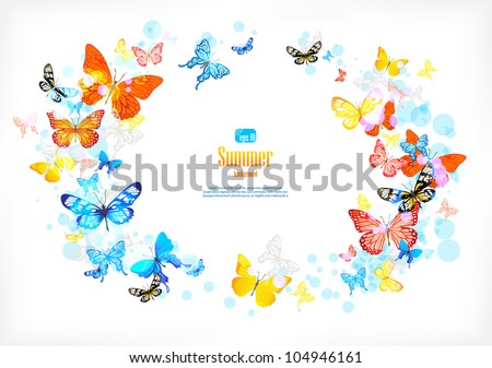 Frame with beautiful butterflies with space for text. - stock vector