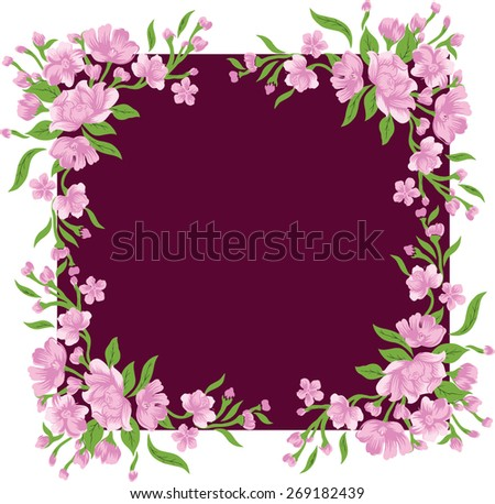 Frame with beautiful flowers. - stock vector