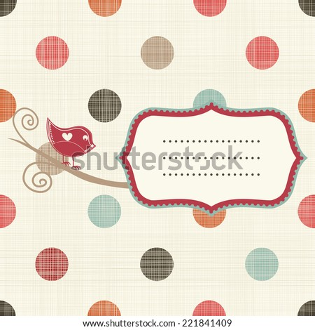 frame with bird on retro seamless colorful polka dots pattern - stock vector